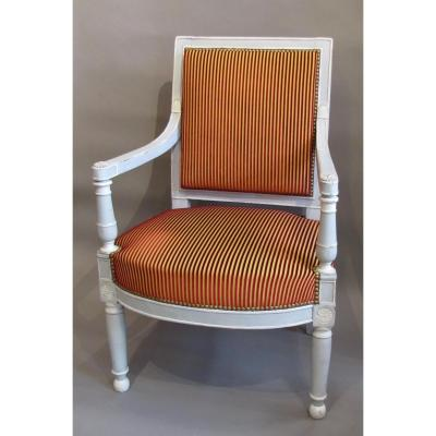 1 Armchair Empire Period, Relaquer Gray And White.