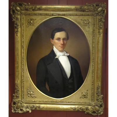 Portrait Of Young Man - 19th Century French School, Signed Courtois