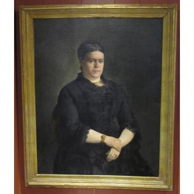 Portrait Of Lady - Belgian School Of The Late Nineteenth Century - Georges Fichefet