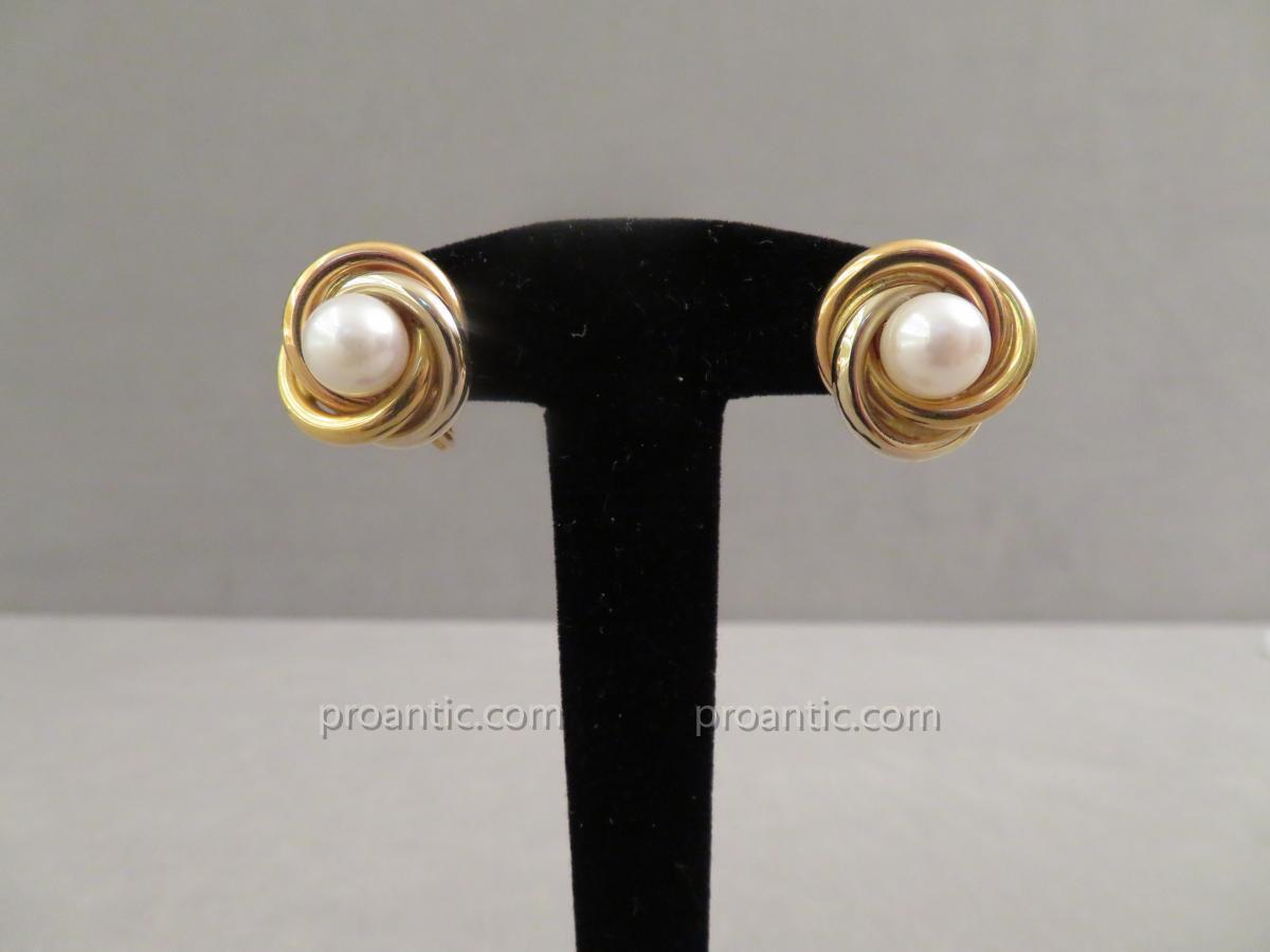 Clips d'Oreilles Or Et Perle