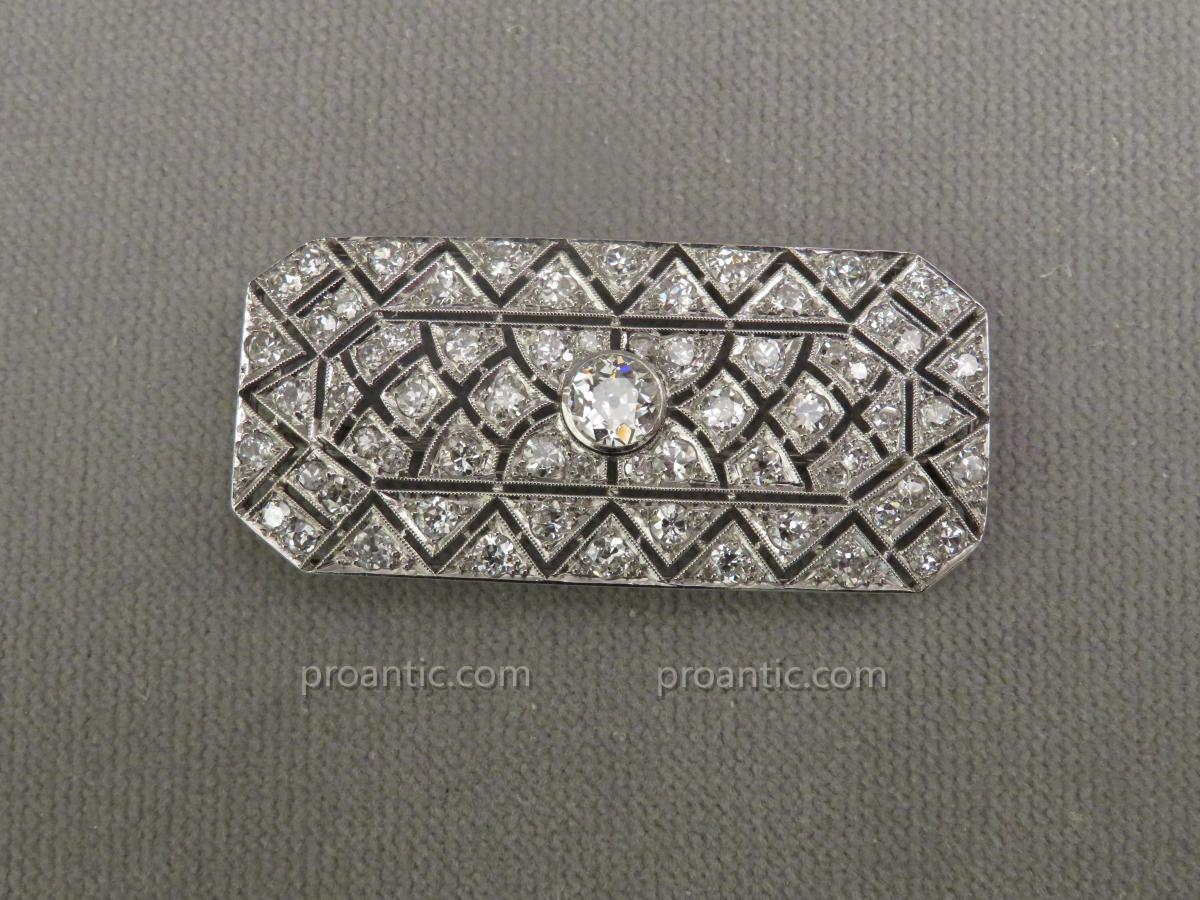 Broche Plaque en Platine et Diamants
