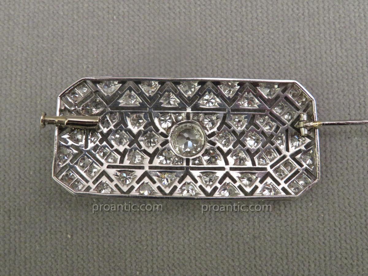 Broche Plaque en Platine et Diamants-photo-3