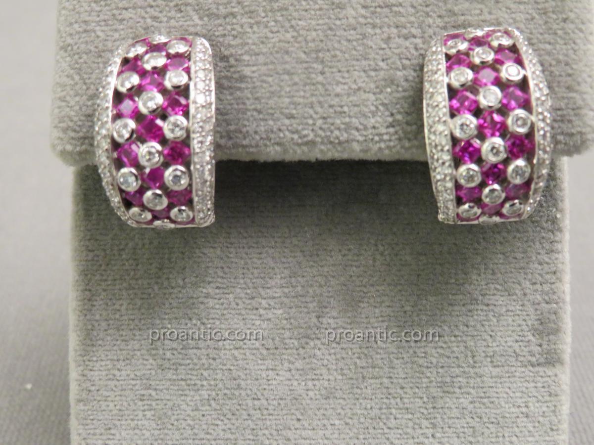 Clips d'Oreilles Rubis Diamants