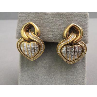 Boucles d'Oreilles Or Jaune et Diamants.