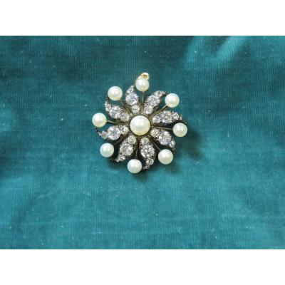 Broche-pendentif Perles et Diamants
