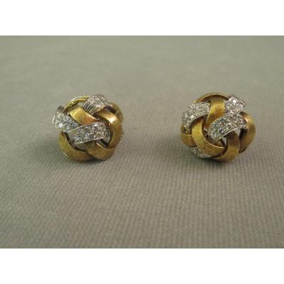 Gold And Diamond Ear Clips.