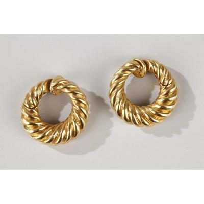 Van Cleef & Arpels Yellow Gold Hoop Earrings