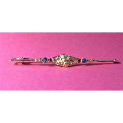 Yellow Gold And Sapphire Barrette Brooch.