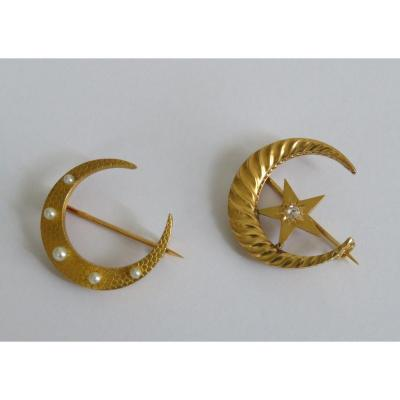 Two Moon Brooches