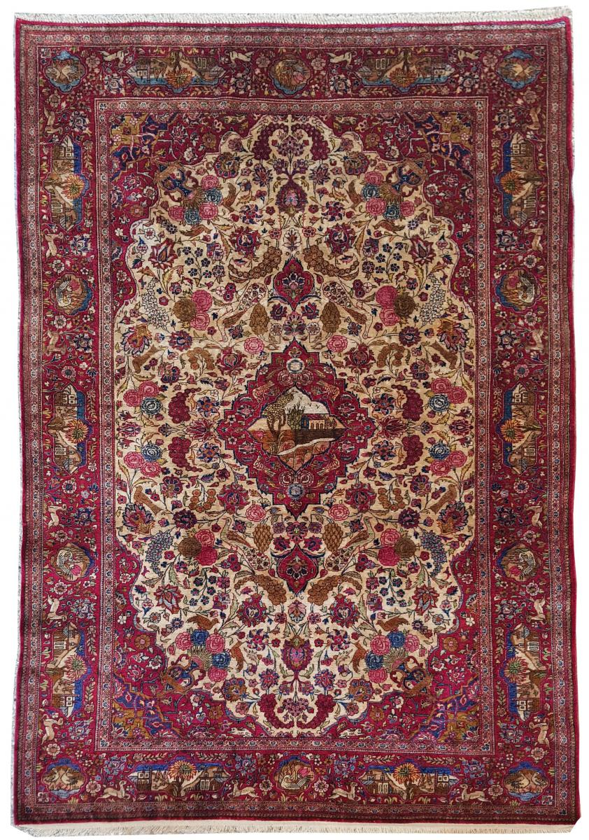Tapis  Kachan Soie -  Iran Vers 1900 - 19ème siècle dynastie pahlavi