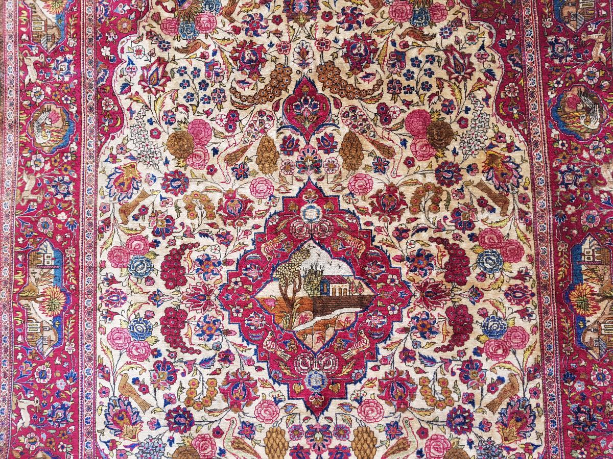 Tapis  Kashan Soie -  Iran Vers 1900 - 19ème siècle dynastie pahlavi -photo-3
