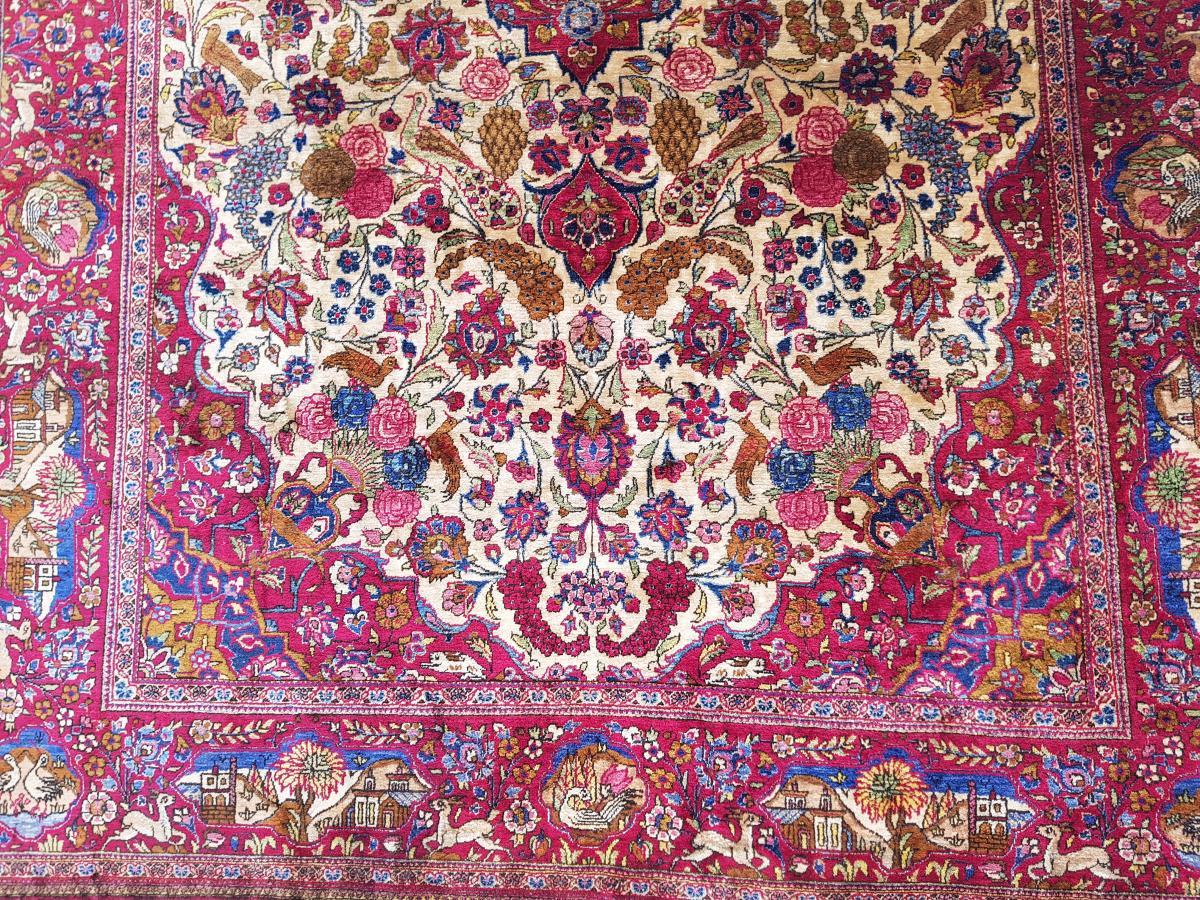 Tapis  Kashan Soie -  Iran Vers 1900 - 19ème siècle dynastie pahlavi -photo-4