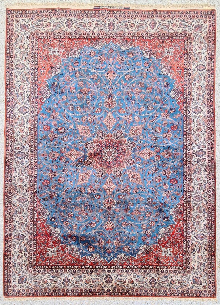 Important et rare Tapis Ispahan Serafian Laine Kork et Soie Vers 1930 Iran