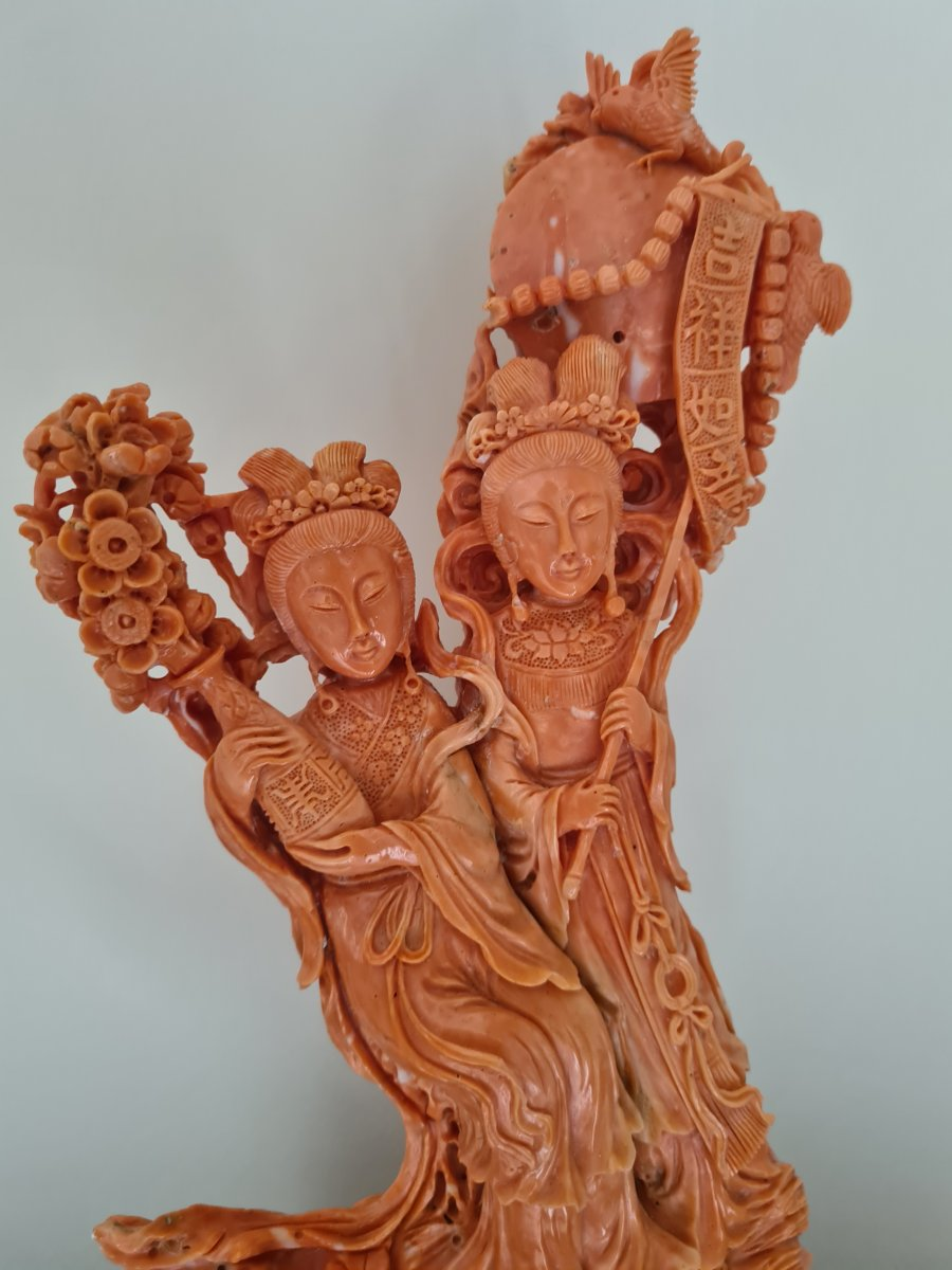Groupe En Corail Représentant Deux déesses du printemps  - Chine Vers 1930-photo-3