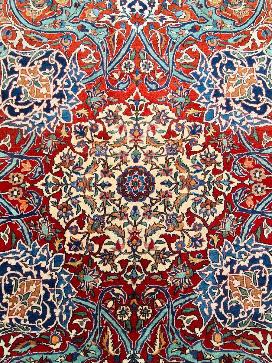 Important Et Fin Tapis Ispahan Chahreza Laine Et Trame Soie - Iran Vers 1920-photo-6