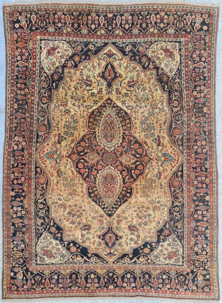 Exceptionnel Et Important Tapis Kashan Mortachem En Laine Kork d'Agneau - Iran 19ème