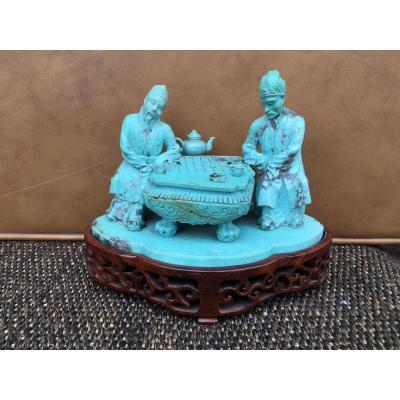 Joueurs De Go En Turquoise - Chine Début 20 ème