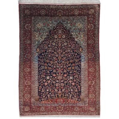 Teheran Carpet All Silk - Pahlavi Dynasty Shah Period - Iran Around 1920