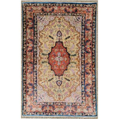 Ghoum Silk Rug Signed Extra Fine Quality - Imperial Workshop - Iran Around 1960 Period Of The Shah.