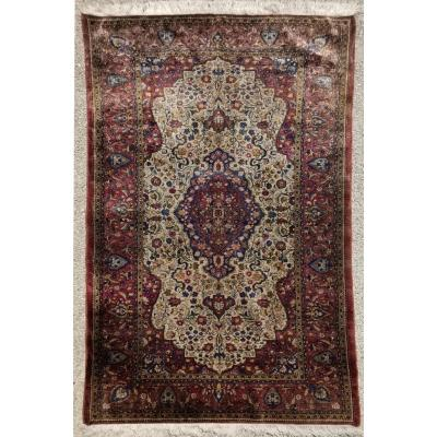 Kirman Silk Rug - Iran 19th