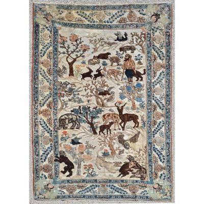 Silk Carpet Tabriz Soof - Iran 19th Century