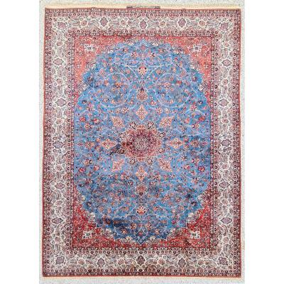 Rare Isfahan Rug In Kork Wool And Silk Signed Serafian, Circa 1950 Iran