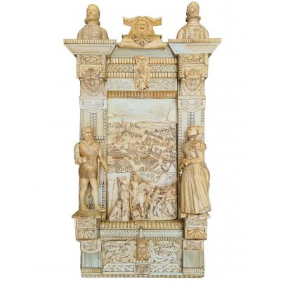 Exceptional And Important Ivory Panel - The Siege Of Breda (1624) - France Early 18th Century