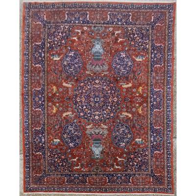 Meched Kork Wool Rug - Shah Period Iran Around 1930