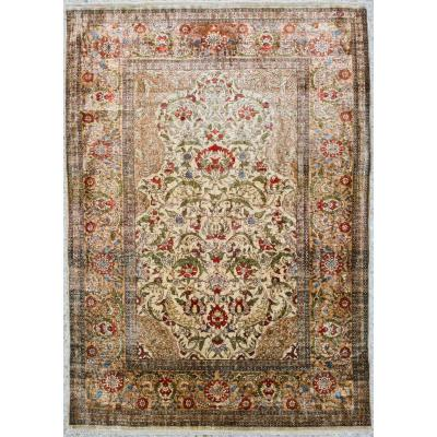Silk Hereke Rug - Turkey Circa 1950