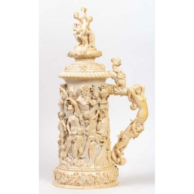 Exceptional Ivory Tankard : Dionysian Feast - Germany 19th