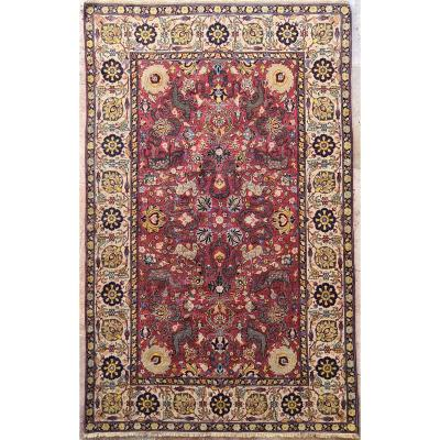 Extremely Rare Kum Kapu Signed Carpet - Iran 19th