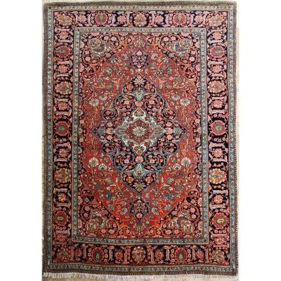 Kashan Mortachem Rug - Kork Lambs Wool - Iran 19th Century
