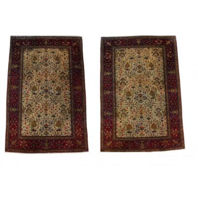 Rare Carpets Pair Of Kashan Dabir - Late XIXth