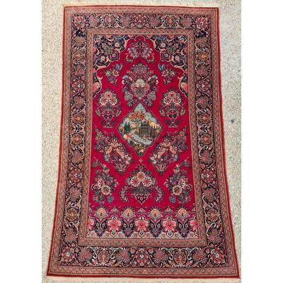 Rare Kachan Wool Carpet Kork Medallion Village - Iran Circa 1930