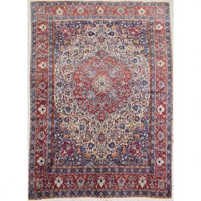 Important And Fine Carpet Isfahan Chahreza Wool And Weft Silk - Iran Around 1920
