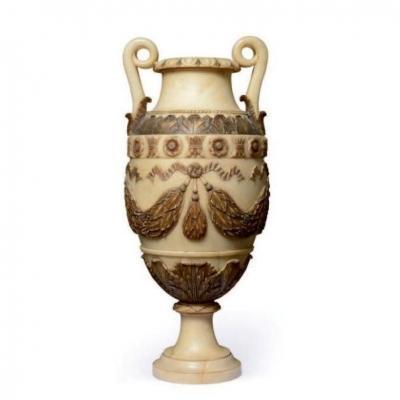 Paire De Vases En Albâtre