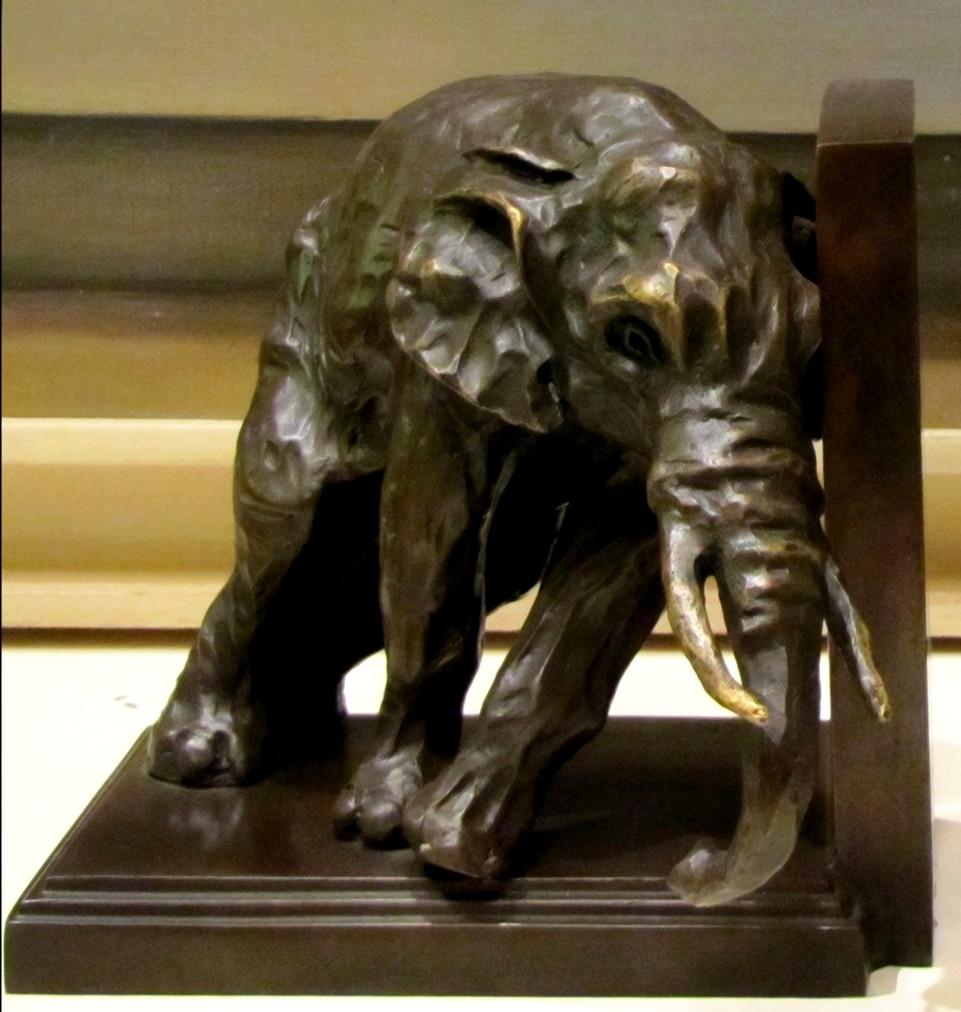 """Deux serre-livres """"éléphants"""" en bronze"""