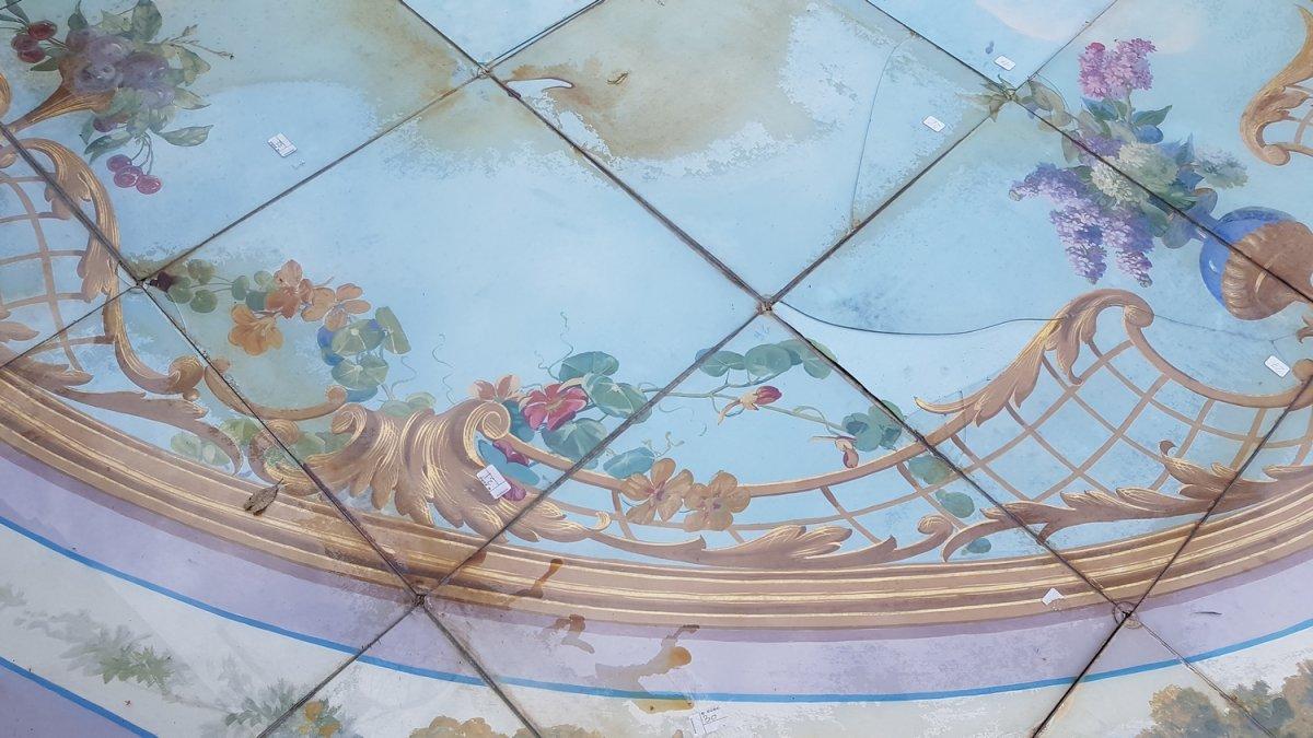 Plafond De Boulangerie En Fixé Sous Verre, Paris Vers 1880. -photo-1