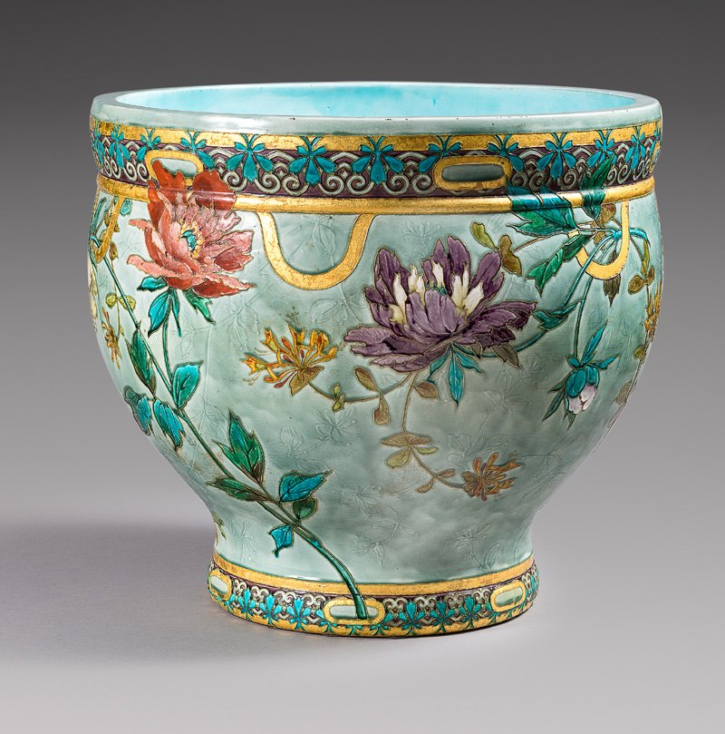 Large Cache Pot In Enameled Ceramic Of Sèvres Manufacture Signed Félix-optat Milet (1838-1911)