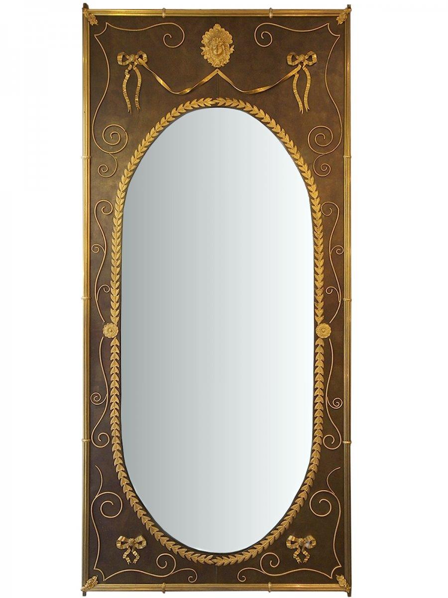 Important Et Rare Miroir De Boiserie De Syle Louis XVI, Vers 1880
