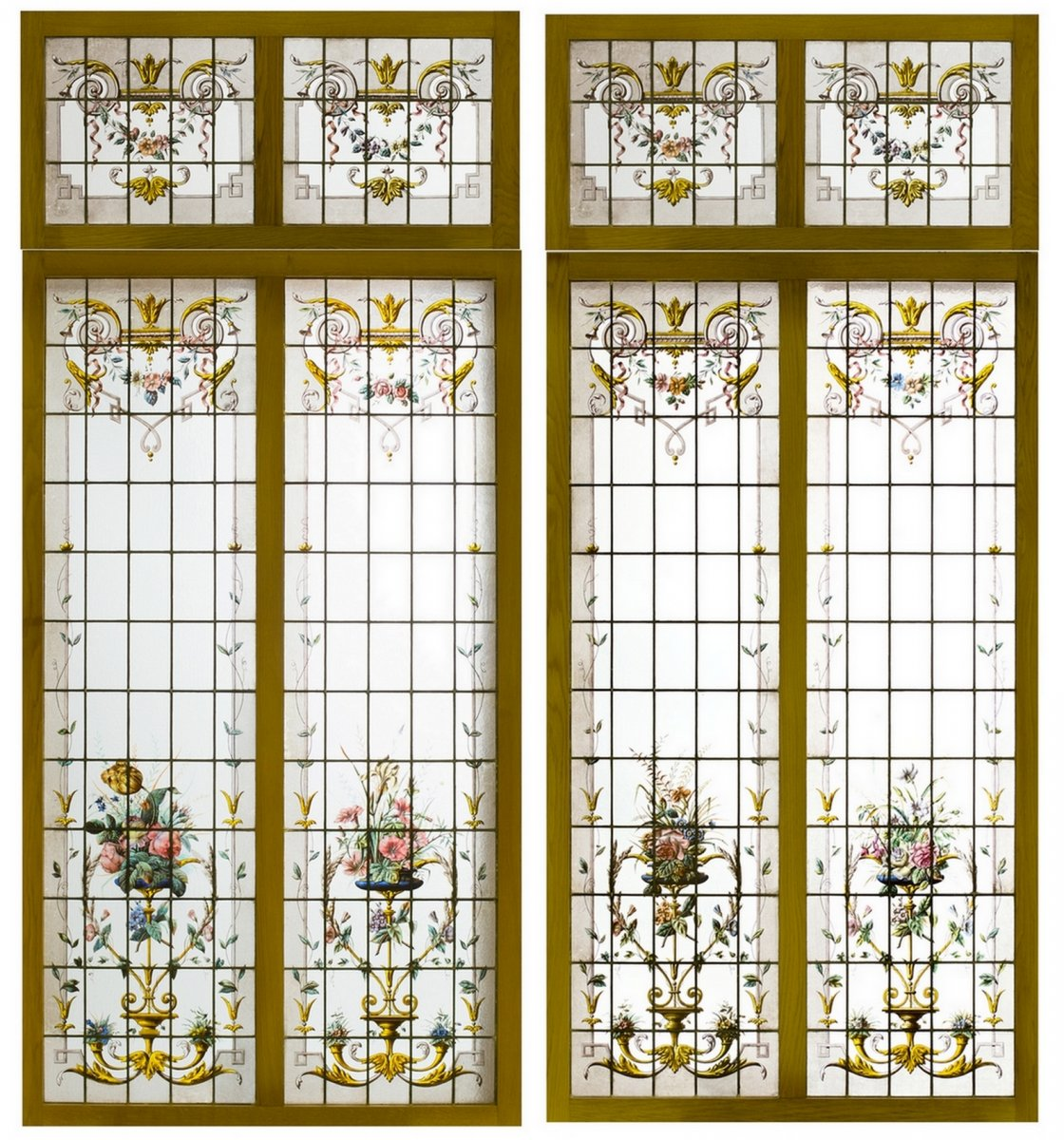 Pair Of Double Stained Glass And Their Impostes Circa 1880