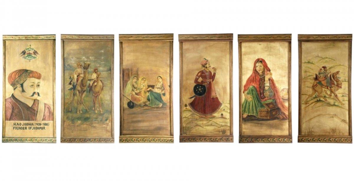 Six Panneaux Peints d'Un Théâtre Ambulant Indien, Vers 1920