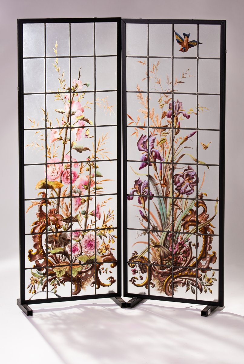 Pair Of Window Stained Glass Panels, France 1880
