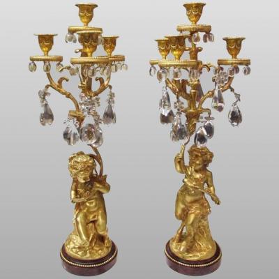Paire de candélabres en girandoles, époque Napoléon III