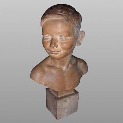 """Original Terracotta Bust Of """"michel Juin"""" By François Cogné"""