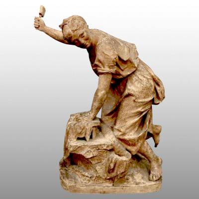 """the Washerwoman"", Terracotta Dated 1870"