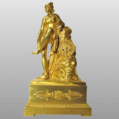 """the Bath Of Diane,"" Important Clock In Gilded Bronze, France Circa 1850"