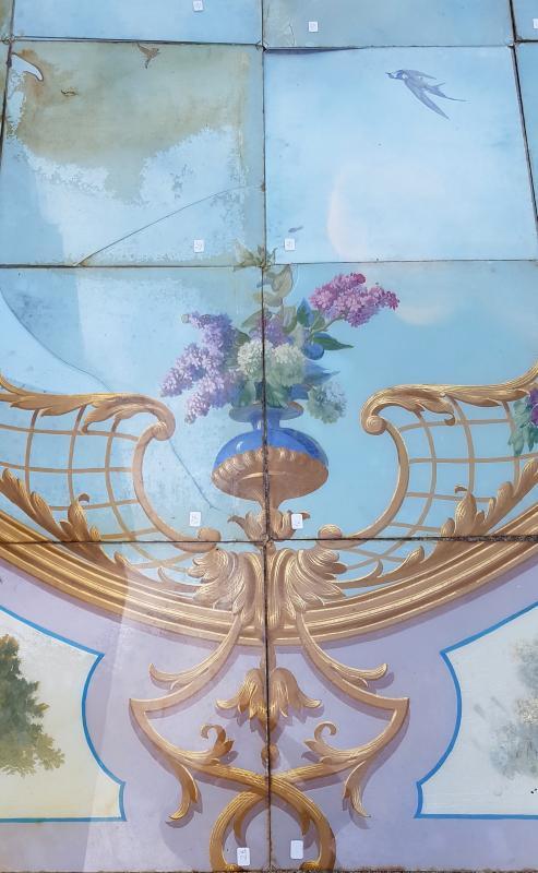 Plafond De Boulangerie En Fixé Sous Verre, Paris Vers 1880. -photo-2