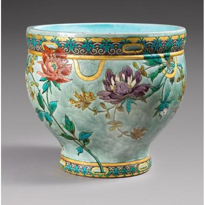 Large Cache Pot In Enameled Ceramic Of Sèvres Manufacture Signed Félix-optat Milet (1838-1911)