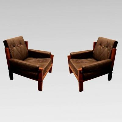 Pair Of Armchairs Of Pierre Chapo, France Circa 1960